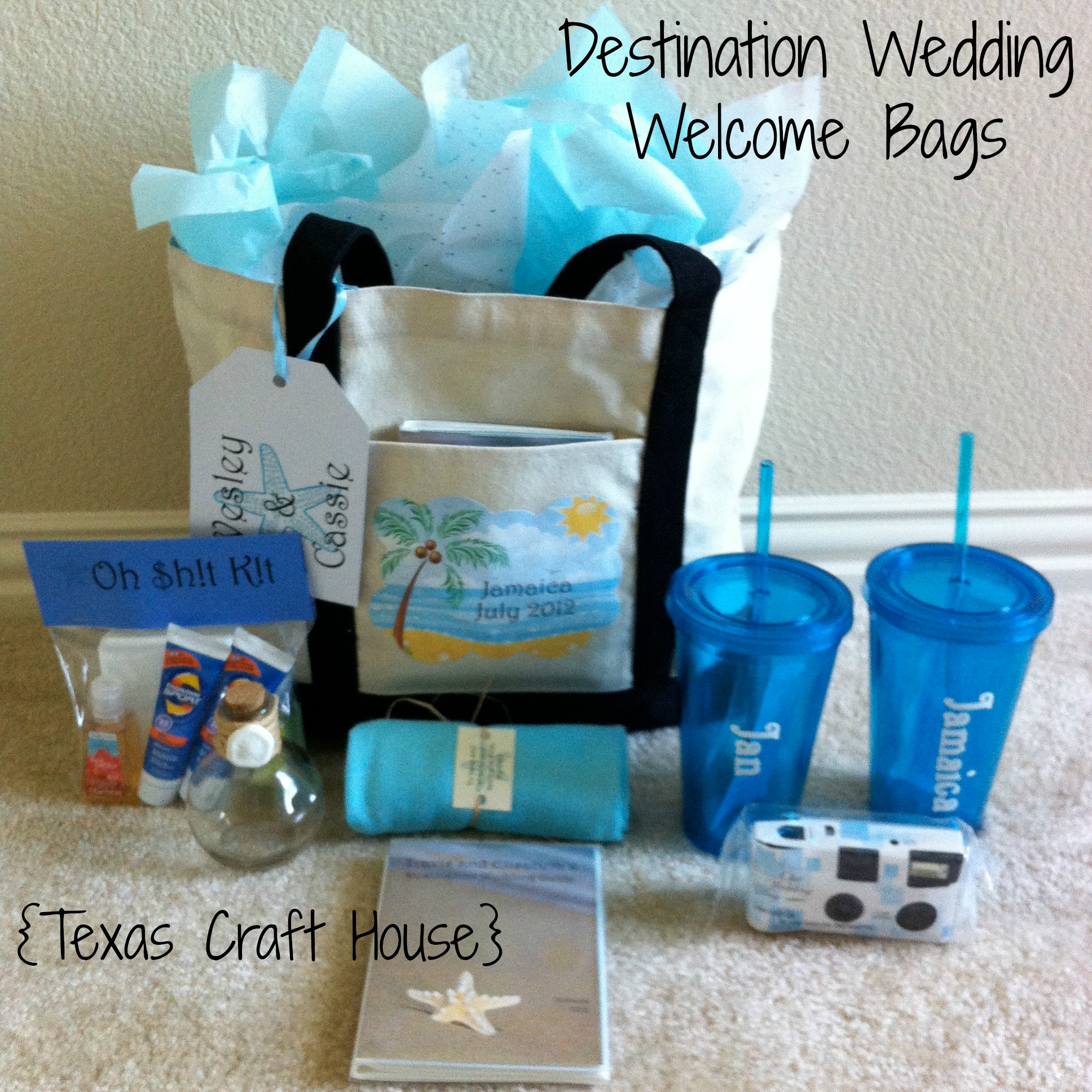 Destination wedding welcome bags diy texas craft house texas craft house destination wedding welcome bags junglespirit Image collections