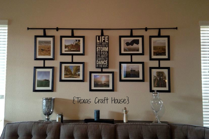 Wall Decor Frames wall décor curtain rod with hanging frames | texas craft house