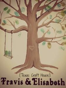 {Texas Craft House} Wedding Guest Book Thumb Print Tree