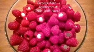 {Texas Craft House} Chocolate filled raspberries - the best and easiest snack to make for any party or shower... it looks pretty too!