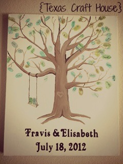 {Texas Craft House} Wedding Guest Book Thumb Print Tree