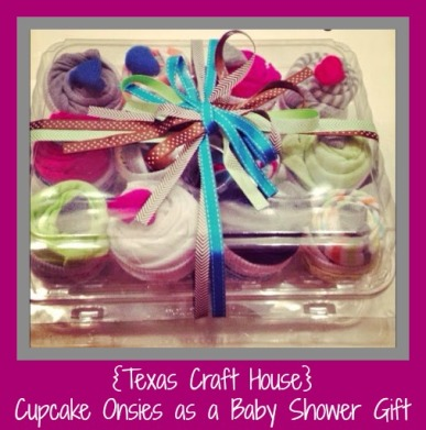 {Texas Craft House}  Cupcake onsies tutorial to give as a baby shower gift, so adorable!