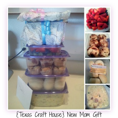{Texas Craft House} New mom gift - homemade meal, just heat and serve! Recipe on website and a cute baby gift idea.