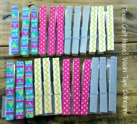 {Texas Craft House} Washi tape clothespins - these would be great to give as gifts for teachers, students, coworkers, friends or even to add some charm to your home office