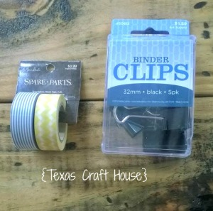 {Texas Craft House} Add washi tape to plain binder clips for a unique look