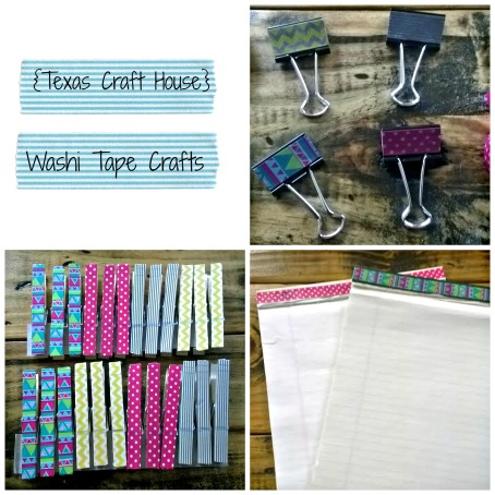 {Texas Craft House} Washi tape binder clips and clothespins - these would be great to give as gifts for teachers, students, coworkers, friends or even to add some charm to your home office