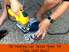 {Texas Craft House} Old watering can turned flower pot.