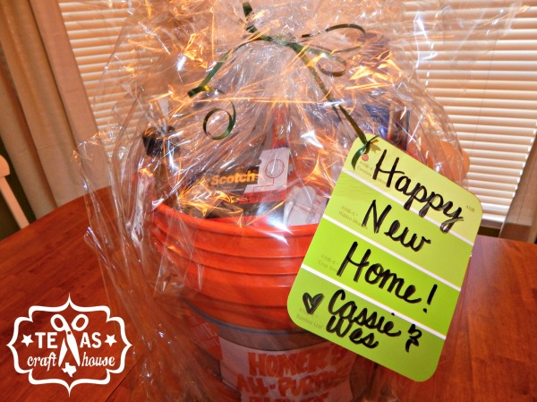 {Texas Craft House} House warming bucket gift with lots of great ideas to fill it with