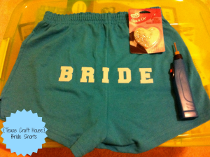 {Texas Craft House} How to make and bedazzle your own 'Bride' shorts for under $10