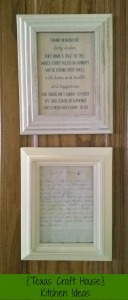 {Texas Craft House} Ideas for the Kitchen - Free dirty dishes printable and framed family recipe