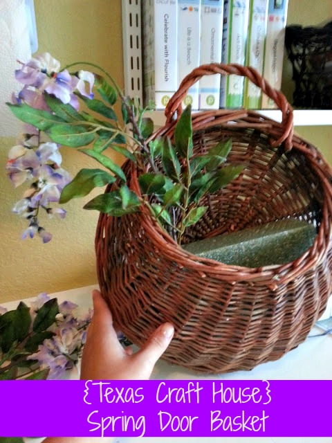 {Texas Craft House} Spring Door Basket - fun, easy spring DIY using a basket instead of a wreath form.