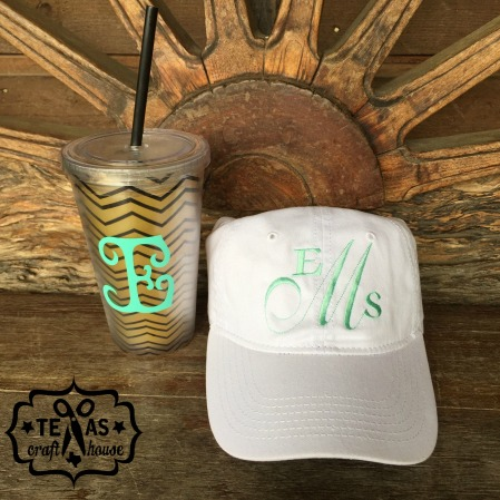 {Texas Craft House} Cute Monogram Hats available on Texas Craft House's Etsy shop