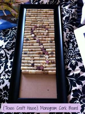 {Texas Craft House} Make your Own Monogram Cork Board from Wine Corks