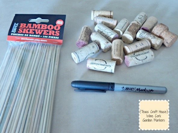 {Texas Craft House} WIne Cork Garden Marker DIY Craft