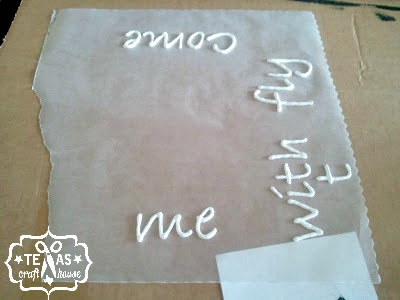 {Texas Craft House} DIY puff paint on canvas - simply trace the letters over a printed font and mod podge to canvas!