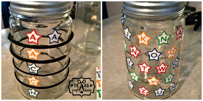 {Texas Craft House} How to turn mason jars into Patriotic Citronella Candles