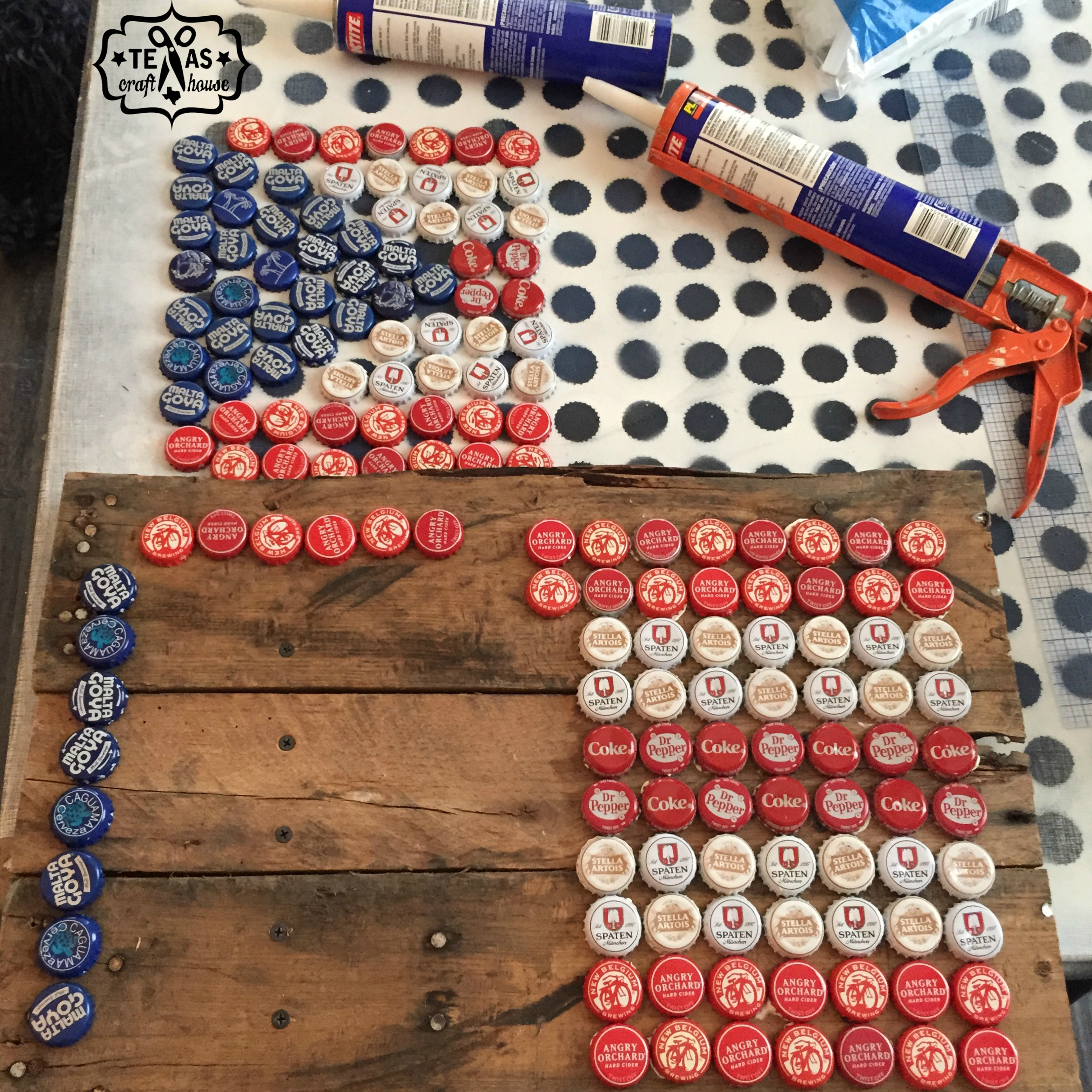 Puerto Rican Flag from Beer Caps | Texas Craft House
