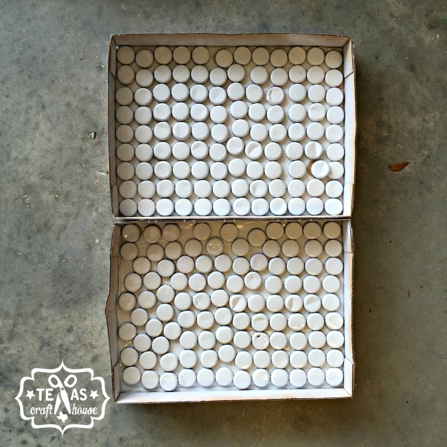 {Texas Craft House} The making of a pallet sign with bottle caps for Taps & Caps.