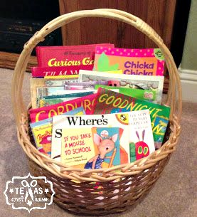 {Texas Craft House} Baby Shower Gift - book basket full of childhood classics