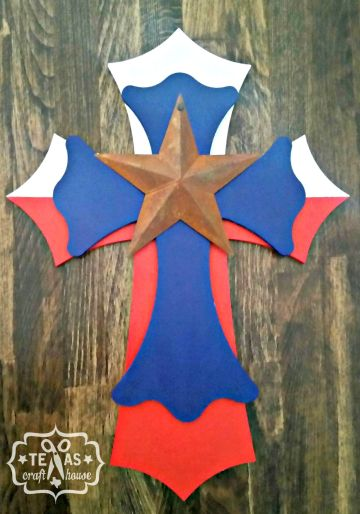 {Texas Craft House} stacked /  layered Texas cross with rustic star