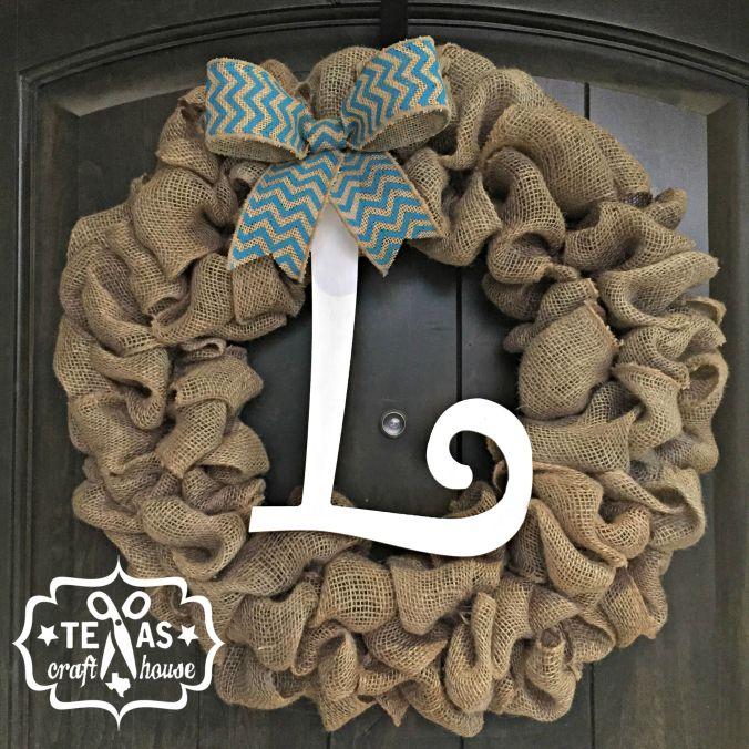 {Texas Craft House} Scrap Burlap Initial Wreath How-to