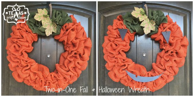 Two In One Fall And Halloween Burlap Wreath Texas Craft House