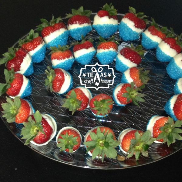 {Texas Craft House} Easy steps to make Red, White, and Blue Strawberries