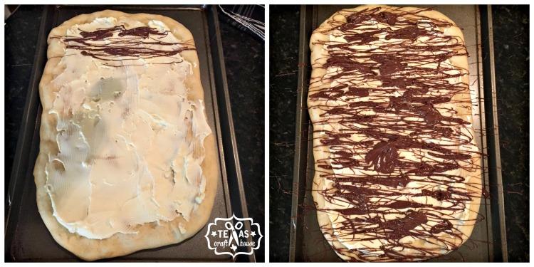 {Texas Craft House} Simple 4 Ingredient Dessert Pizza - dough, mascarpone, Nutella, and powdered sugar