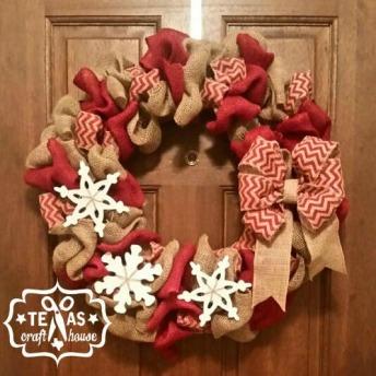 {Texas Craft House} Burlap Christmas Wreath Picture Tutorial