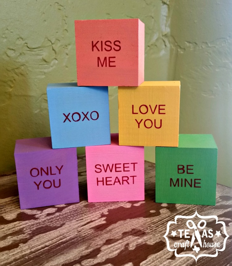 {Texas Craft House} Wood Block Conversation Heart made with a Silhouette Cameo and using vinyl as a paint stencil. Great idea for a Valentine's home decor