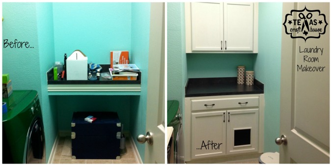 {Texas Craft House} Laundry Room Makeover: Litter Box Storage